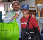 chris & lisette fill our brand new eco friendly shopping bags