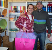 colorful christmas shopper kyle & buddy steven love the wine cups